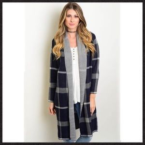 Navy Gray Long Cardigan - SM/MD